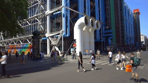 Paris, France - June 2019 : Centre Pompidou Beaubourg in the center of Paris France, facade of the modern art and contempary museum with its famous colored pipes on a spring day