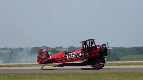 OKLAHOMA CITY, OKLAHOMA / USA - June 2, 2019: The Jack Link's Screamin' Sasquatch Jet Waco performs at the Star Spangled Salute Air & Space Show at Tinker Air Force Base.