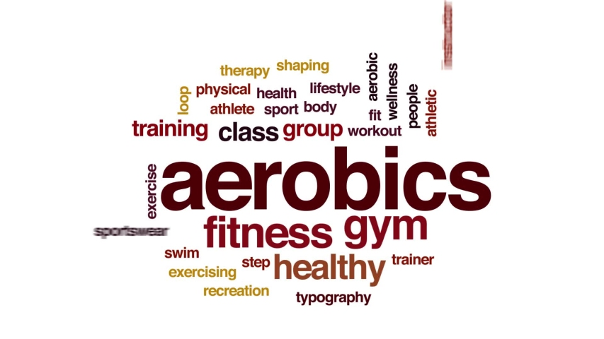 Aerobics animated word cloud, text design animation. Kinetic typography. | Shutterstock HD Video #1031856779