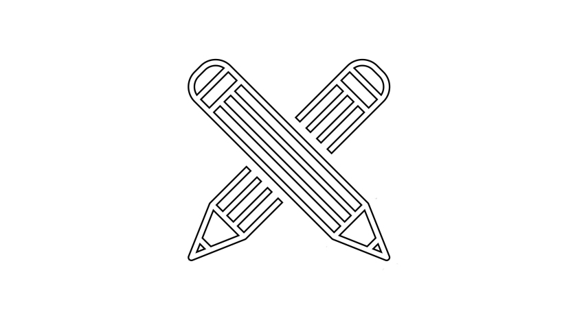 Black Crossed pencil line icon on white background. Education sign. Drawing and educational tools. School office symbol. 4K Video motion graphic animation   Shutterstock HD Video #1031898869