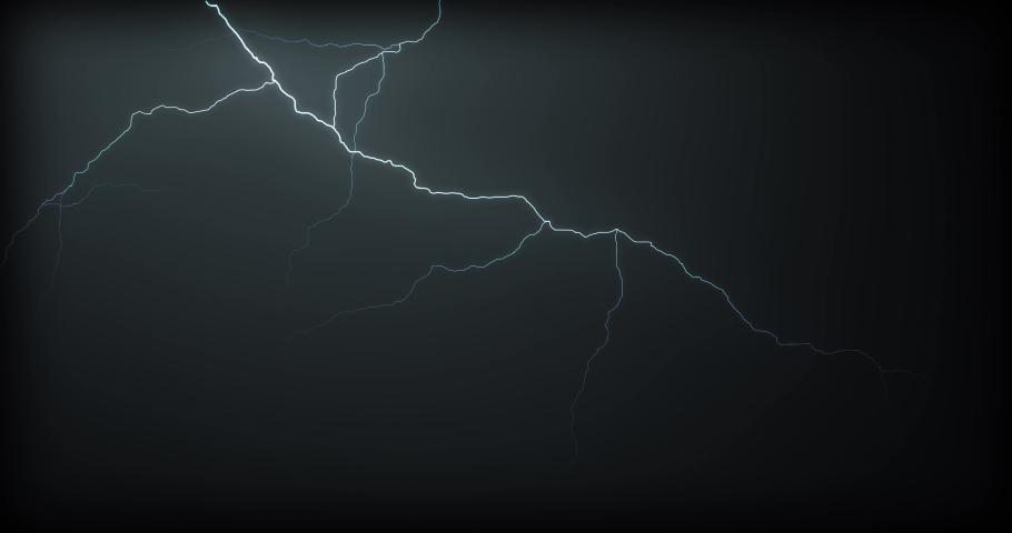 Lightning strikes on a black background #1031916749