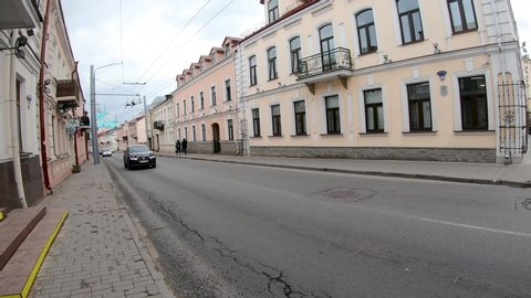 Grodno, Belarus - May 17, 2019: Cars driving on street in Grodno.