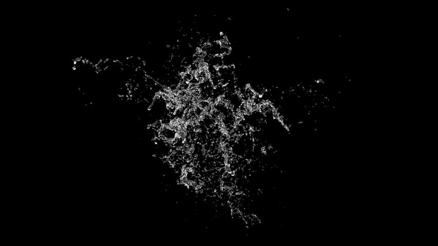 Water splashing. slow motion on black background with alpha channel   Shutterstock HD Video #1032148979
