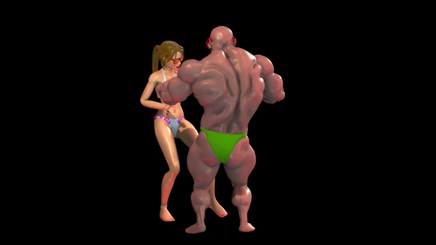 Seamless animation of caucasian bikini girl and a muscular man dancing. Funny cgi summer background isolated with alpha channel. | Shutterstock HD Video #1032155429
