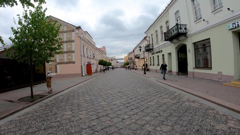 Grodno, Belarus - May 17, 2019: People walking in old town of Grodno.