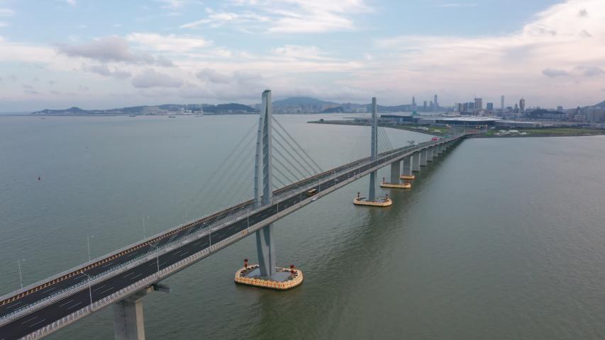 Aerial View Footage Of Hong Kong-Zhuhai-Macao Bridge   Shutterstock HD Video #1032326189