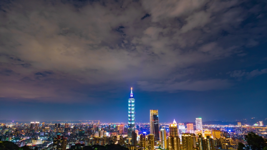 Time lapse of city night view in Taipei, Taiwan | Shutterstock HD Video #1032328679
