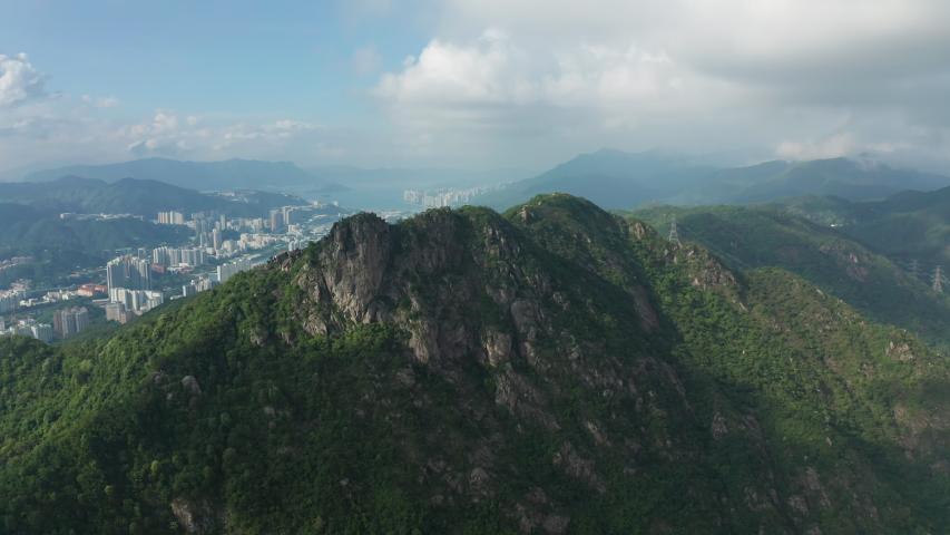4k aerial orbit shot of Lion Rock in Hong Kong | Shutterstock HD Video #1032351029