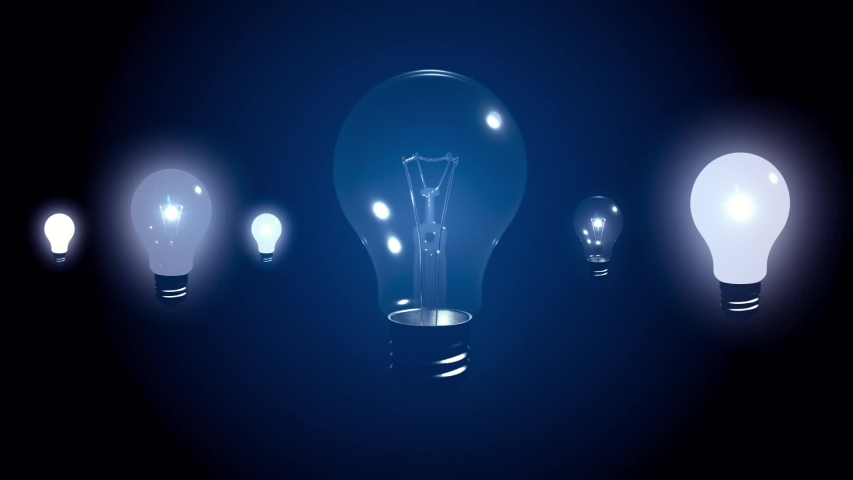 Lightbulbs Loop - lightbulbs light up and fade out in a constant loop - for that lightbulb moment when an idea arrives.   Shutterstock HD Video #1032461309
