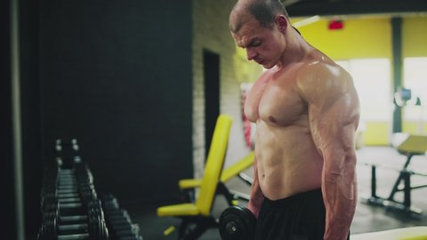 Muscular man doing lift-ups, holding heavy dumbbells in hands at the gym. Workout for arm muscles