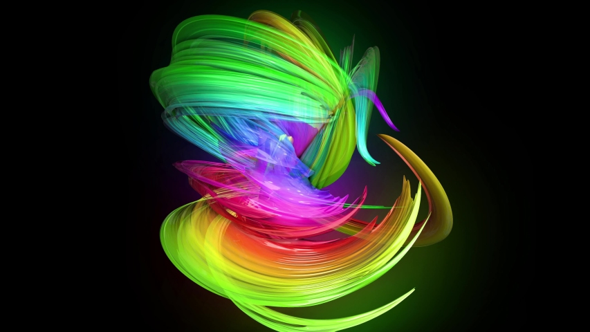 Transparent colored lines with a neon glow on a black background. Motion graphics 3d looped background with multicolor colorful rainbow ribbons. Beautiful seamless background in motion design style 30 | Shutterstock HD Video #1032501269