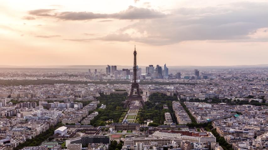 Eiffel tower & Paris downtown time lapse | Shutterstock HD Video #1032608729