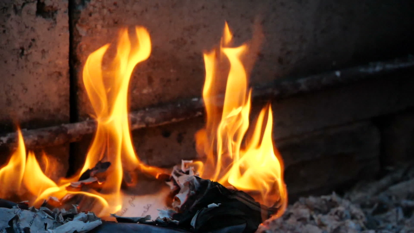 Book pages are burning in fire. Bonfire of Burning Books   Shutterstock HD Video #1032710939