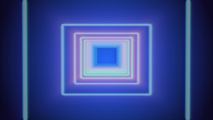 Square Neon Tunnel Flying Through Target 4K Footage Background. Glow Spectrum Fluorescent Geometric Loop Frame Animation. | Shutterstock HD Video #1032905009