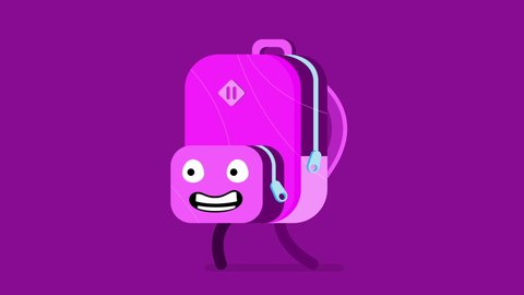 Eager backpack character trotting and getting ready for Back To School. 4k looping animation with alpha channel