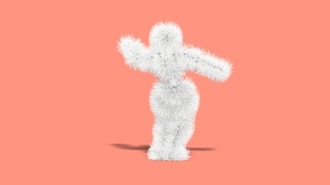 3d animated render of pipe cleaner monster dancing on pink infinity  background
