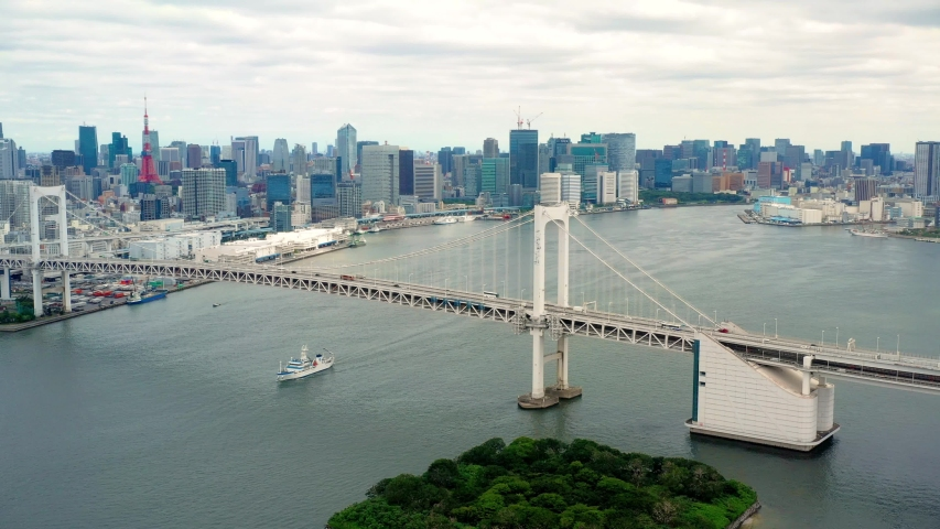 panorama of Tokyo Bay with rainbow bridge in aerial view, Japan #1033028549
