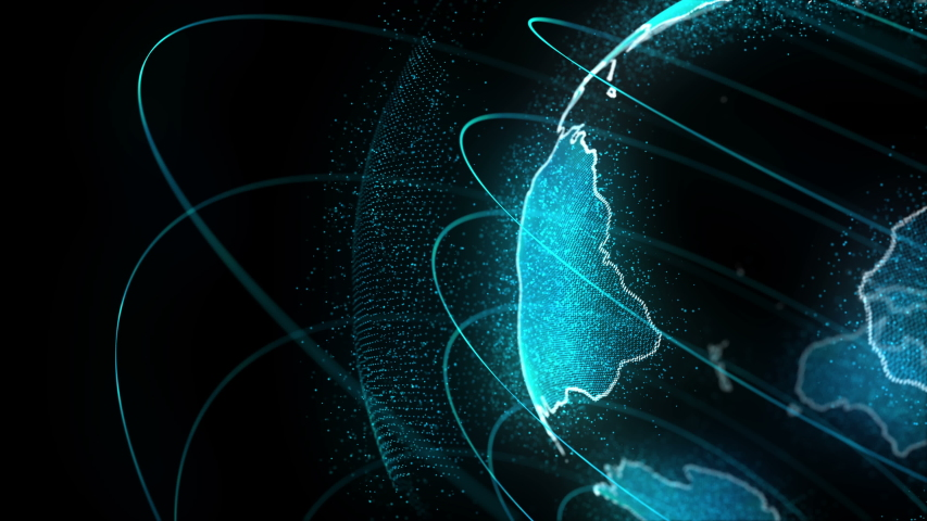 Looped Rotation of Digital Holographic Earth Globe | Shutterstock HD Video #1033042889