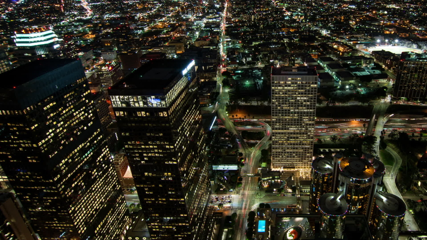 Skyscrapers and traffic at night, Los Angeles, California, United States | Shutterstock HD Video #1033063109