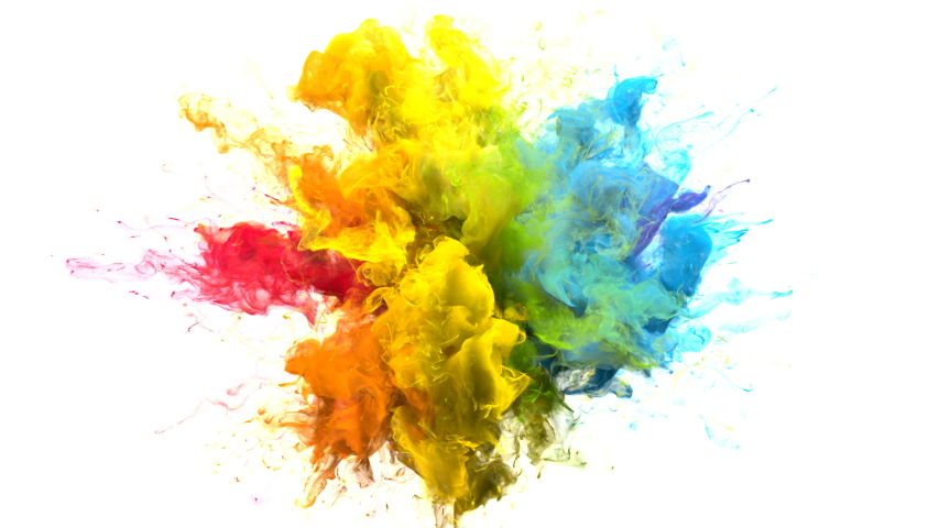Color Burst iridescent multicolored colorful rainbow smoke powder explosion fluid ink particles slow motion alpha matte isolated on white | Shutterstock HD Video #1033137389