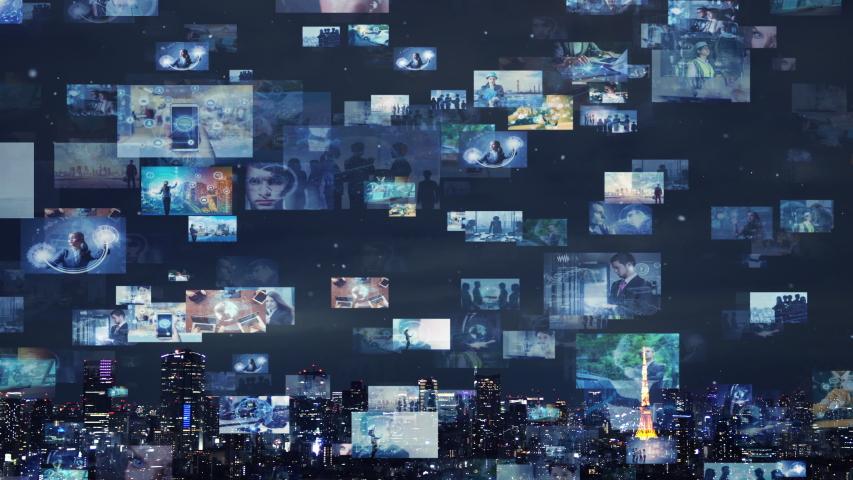 Screens of multimedia concept. Social media. Streaming video. | Shutterstock HD Video #1033197869