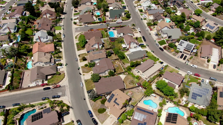 Aerial view suburban neighborhood with villas next to each other. San Diego, California, USA. Aerial view of residential modern subdivision luxury house with swimming pool. | Shutterstock HD Video #1033235609