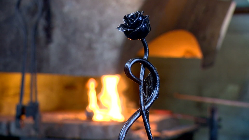 The art of the master in the smith of a forging metal with the help of the hammer of fire and the craft of tradition | Shutterstock HD Video #1033244849