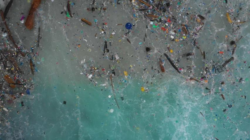 The worlds most polluted beach, Plastic marine debris. | Shutterstock HD Video #1033326779