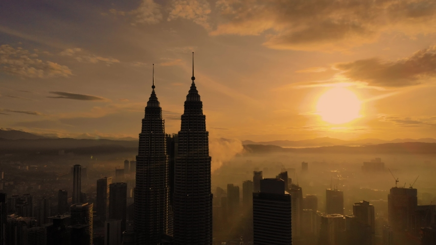 Kuala Lumpur,  panorama of the city center, shooting from air  | Shutterstock HD Video #1033575809