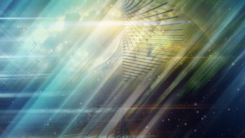 Spiral Stairway to Heaven in Cloudy Sky with Light Rays - 4K Seamless Loop Motion Background Animation