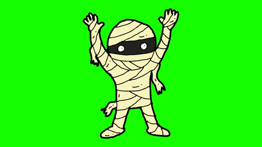 Kids drawing green screen with theme of mummy | Shutterstock HD Video #1033750739