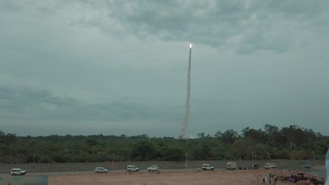 Sriharikota, Andhra Pradesh / India - July 22 2019: Fast/Timelapse view of the Chandrayan 2 satellite launch from the viewing gallery at Satish Dhawan Space Research Centre