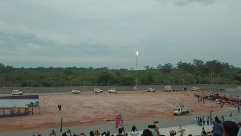Sriharikota, Andhra Pradesh / India - July 22 2019: View of the Chandrayan 2 satellite launch from the viewing gallery at Satish Dhawan Space Research Centre
