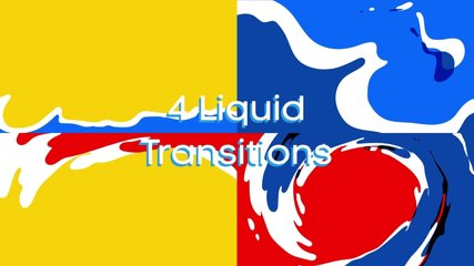 Pack of hand drawn colorful water liquid transitions.