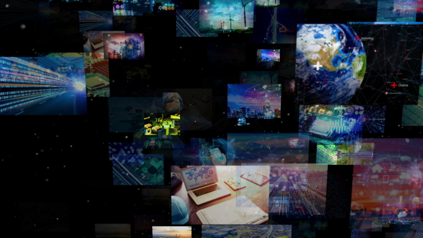 A lot of screens in cyberspace. Social media. Broadcasting. Streaming video. | Shutterstock HD Video #1033933559