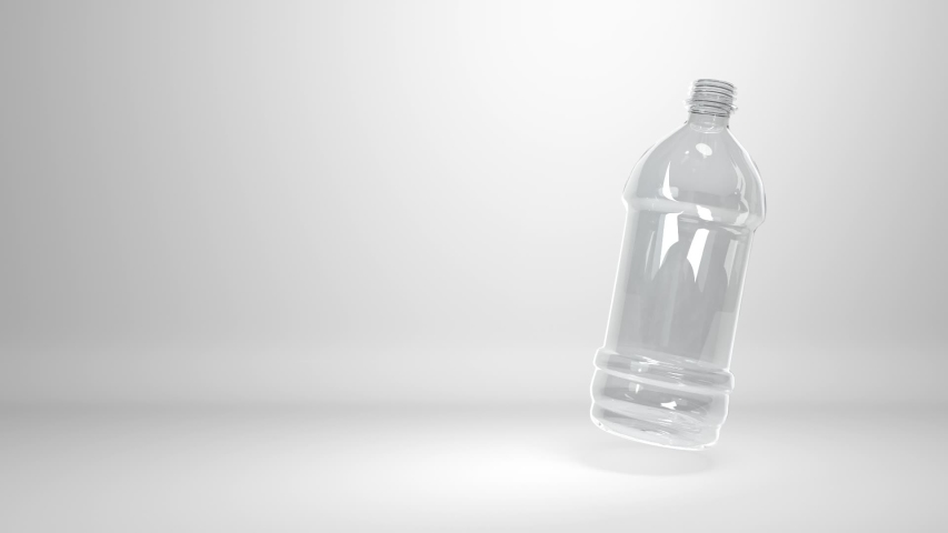 CG animation of a plastic bottle floating on white background, with copy-space. Seamless 3D animation loop rendering. | Shutterstock HD Video #1033954379