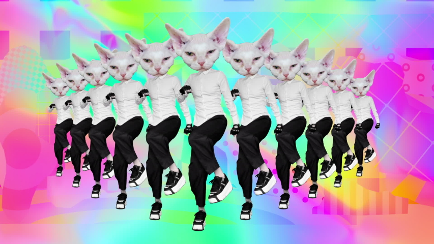 Gif motion art. Dancing office style White Kitty on abstract background | Shutterstock HD Video #1033962419