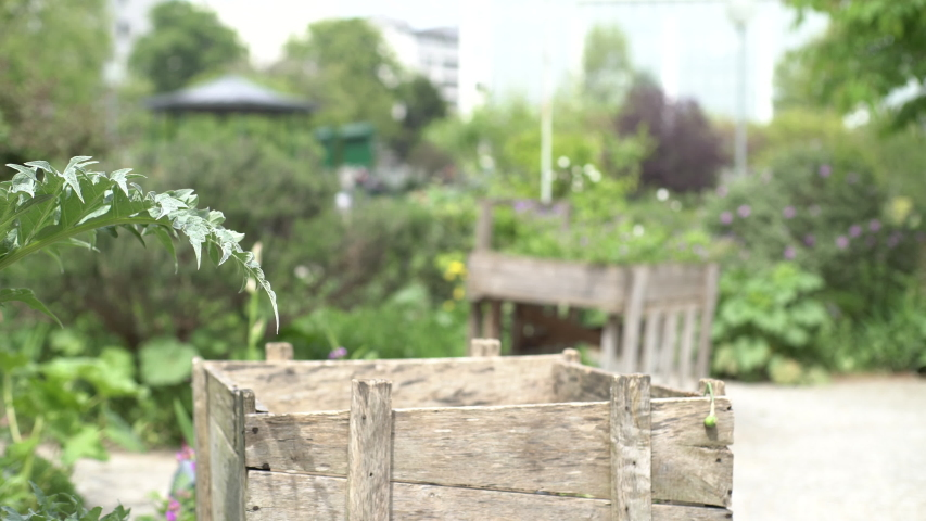 Medium shot of a woman working in the garden | Shutterstock HD Video #1034131319