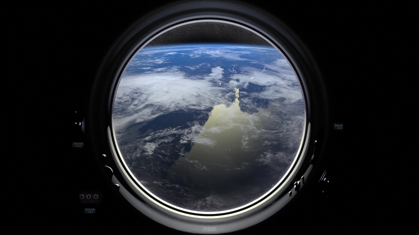 Earth through the porthole window of spaceship. International space station moves to the right. Realistic atmosphere. ISS. 4K. | Shutterstock HD Video #1034182259