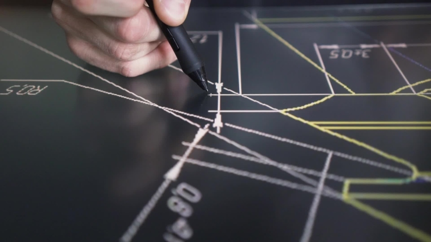 Creative Designer architect Working With drawings on the interactive screen pen Tablet in studio | Shutterstock HD Video #1034217059