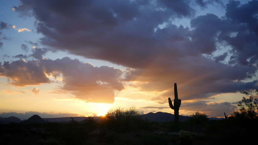 Inspirational sunrise in the Sonoran Desert of Arizona. 4K time-lapse. ProRes 422 encoded.