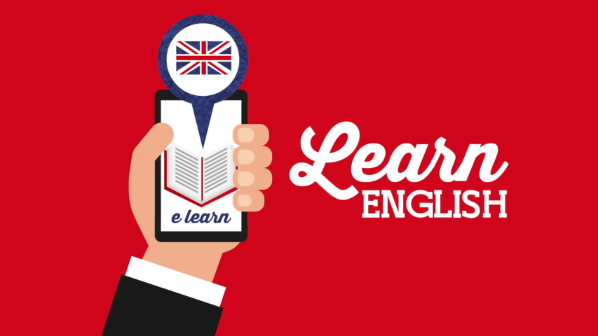 hand with smartphone and british flag learn english , hd video animation