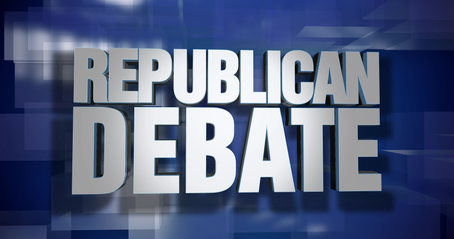 A blue dynamic 3D Republican Debate news transition and title page animation. 5 and 2 second options included. Green screen.	 	 | Shutterstock HD Video #1034508299