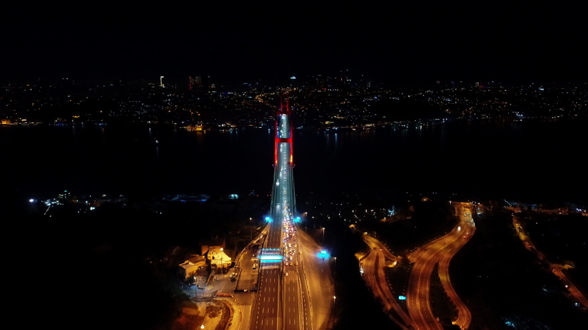 Aerial view of Istanbul Bosphorus Bridge at night | Shutterstock HD Video #1034560799