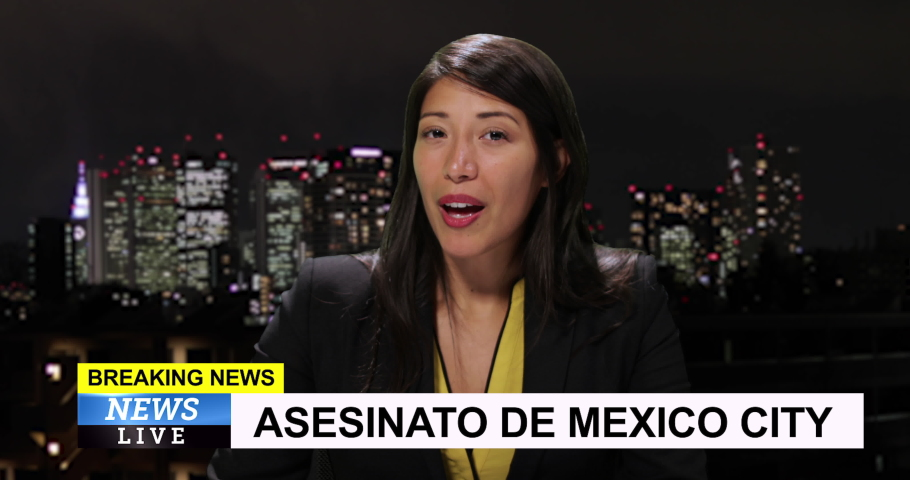 MS Female reporting live from Mexico City with breaking news | Shutterstock HD Video #1034745569