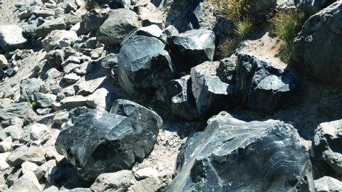 Bend , Oregon / United States - 04 28 2019: Obsidian Flow Oregon