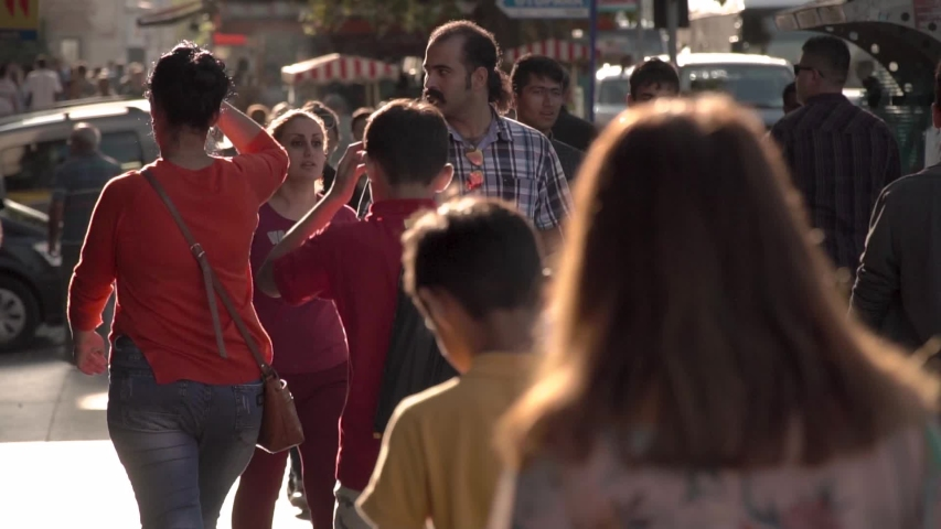 Istanbul / Turkey - 03 21 2019: People Walk Down A Busy Tourist Street In Istanbul, In Slow Motion. #1034779409