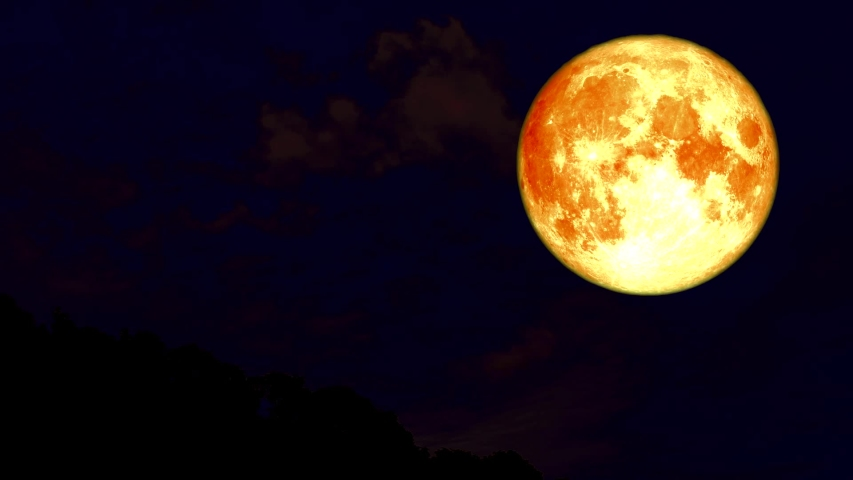 Blood moon night sky and cloud moving time lapse | Shutterstock HD Video #1034786519