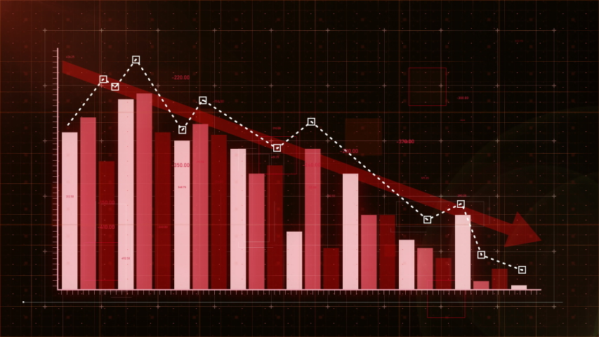 Bar graph fall down with red arrow, professional look and feel, ultra HD 4K | Shutterstock HD Video #1034801999