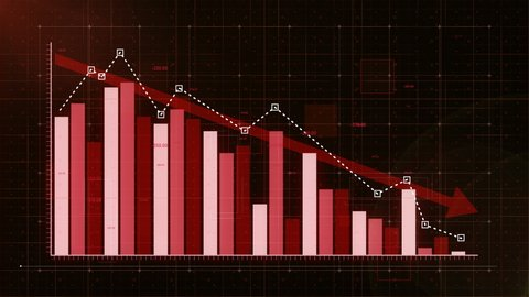 Bar graph fall down with red arrow, professional look and feel, ultra HD 4K